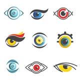 Les calibres d'icônes de technologie d'ophthalmologie de vecteur de yeux ont isolé l'ensemble optique d'appartement d'oeil illustration libre de droits