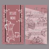 Les calibres de carte de menu de dessert ont basé en main le croquis dessiné illustration de vecteur