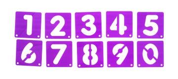 Les calibres de pochoir de panneau d'affiche numérote dans une rangée photographie stock