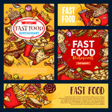 Les calibres de vecteur d'aliments de préparation rapide ont placé des repas de prêt-à-manger Photos stock