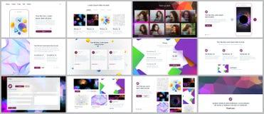 Les calibres de vecteur pour le site Web conçoivent, les présentations minimales, portfolio avec les milieux géométriques vibrant Photographie stock libre de droits