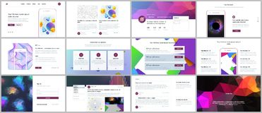 Les calibres de vecteur pour le site Web conçoivent, les présentations minimales, portfolio avec les milieux géométriques vibrant Photos stock