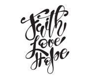 Les calibres tirés par la main de carte de voeux de citation de Pâques avec le lettrage expriment la foi, amour, espèrent le styl illustration libre de droits