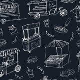 Les camions et les chariots de nourriture de rue vendant des plats de wok de hot-dogs gribouillent le modèle sans couture illustration stock