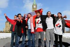 Les Canadiens célèbrent l'or d'hockey Photos stock