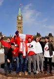 Les Canadiens célèbrent l'or d'hockey Photographie stock