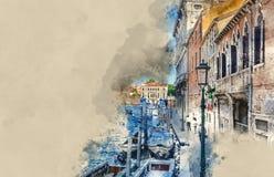 Les canaux romantiques dans la ville de Venise illustration stock