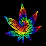 Les cannabis d'arc-en-ciel poussent des feuilles pour teindre en nouant le remous illustration de vecteur