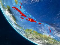 Les Caraïbe de l'espace sur terre illustration stock