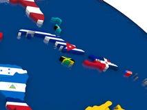 Les Caraïbe du nord sur la carte 3D avec des drapeaux illustration libre de droits
