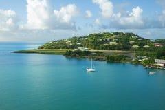 les Caraïbe L'île du St Lucia La piste d'atterrissage de l'aéroport Photo libre de droits