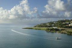 les Caraïbe L'île du St Lucia La piste d'atterrissage de l'aéroport Photos libres de droits