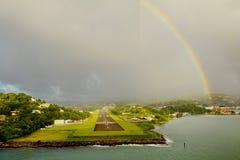 les Caraïbe L'île du St Lucia Piste d'atterrissage de l'aéroport Photographie stock libre de droits