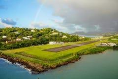 les Caraïbe L'île du St Lucia Piste d'atterrissage de l'aéroport Photos libres de droits