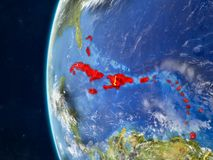 Les Caraïbe sur le globe de l'espace illustration de vecteur
