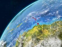 Les Caraïbe sur terre avec des frontières photographie stock
