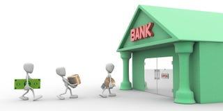 les caractères 3d ont l'argent à la banque Photo libre de droits