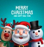 Les caractères de Noël dirigent l'illustration et la salutation de Joyeux Noël illustration de vecteur