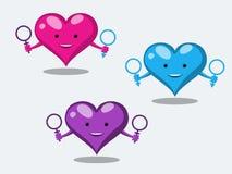Les caractères drôles de coeur montrent des relations sexuelles peu conventionnelles tenant les symboles d'un homme et d'une femm illustration stock