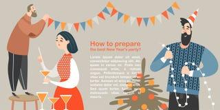 Les caractères drôles préparent la partie de nouvelle année image libre de droits
