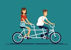 Les caractères heureux de jeune homme et de femme de conception plate fraîche de vecteur couplent la bicyclette tandem de monte d Photo stock