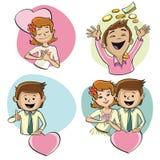 Les caractères humains sur le thème de l'amour Image stock