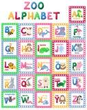 Les caractères mignons de bande dessinée de lettres d'animal d'alphabet de zoo ont isolé l'illustration anglaise éducative différ Photo stock
