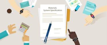 Les caractéristiques de système matérielles projettent le document de besoin des utilisateurs de fourniture illustration stock