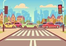 Les carrefours de ville de bande dessinée avec des voitures dans l'embouteillage, le trottoir, le passage piéton et le paysage ur illustration stock