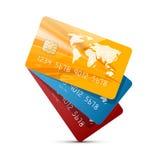 Les cartes de crédit colorées de vecteur ont placé l'illustration Photos libres de droits
