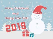 Les cartes de Joyeux Noël et de bonne année 2019 ont un boîte-cadeau esquimau sur le fond de turquoise illustration stock