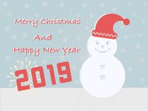 Les cartes de Joyeux Noël et de bonne année 2019 ont un boîte-cadeau esquimau sur le fond de turquoise illustration libre de droits