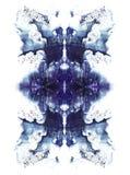 Les cartes de la tache d'encre de rorschach examinent la tache symmetrycal d'aquarelle bleue Photo stock