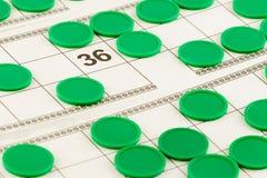 Les cartes de loto et les puces vertes et ouvrent le numéro 36 Photo libre de droits