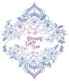 Les cartes de mariage avec des pivoines et le menhdi dénomment le cadre décoratif Image stock