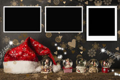 Les cartes de Noël vident des cadres de photo Photo libre de droits