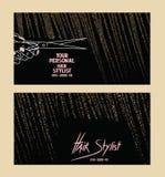 Les cartes de visite professionnelle de visite de coiffeur avec de l'or ont donné aux cheveux une consistance rugueuse abstraits Photographie stock libre de droits