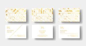 Les cartes de visite professionnelle de visite de luxe élégantes de blanc et d'or ont placé avec le calibre de marbre de vecteur  illustration de vecteur