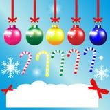 Les cartes de voeux de Noël ornementent le fond de bleu de ruban de flocon de neige de boule Illustration Stock