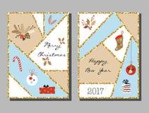 Les cartes en liasse de Noël avec différent se connectent Noël et la nouvelle année illustration libre de droits