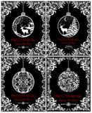 Les cartes noires et blanches de vintage pour des vacances de nouvelles années et de Noël avec la boule accrochante décorative av Images stock