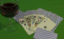 les cartes ont eu une quinte royale images stock