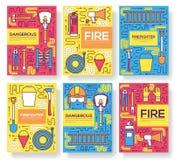 Les cartes uniformes de brochure de vecteur de sapeur-pompier plat amincissent la ligne ensemble aidez d'abord le calibre de flye illustration libre de droits