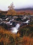 Les cascades à écriture ligne par ligne de l'hiver, Rannoch amarrent, l'Ecosse Photographie stock