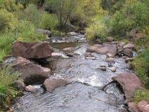 Les cascades de flanc de coteau du Nouveau Mexique coulent la rivière de whitewater bascule l'eau humide photos libres de droits