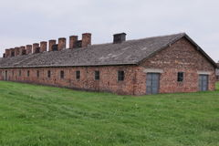 Les casernes des hommes, Auschwitz II Photographie stock