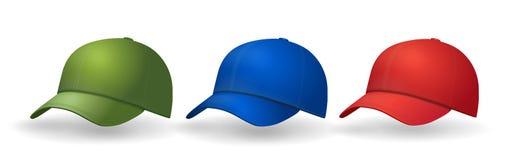 Les casquettes de baseball ont placé la collection réaliste de chapeau Images libres de droits
