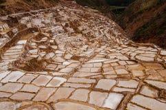 Les casseroles antiques de sel de Maras Photographie stock