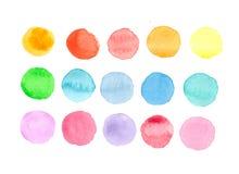 Les cercles avec différentes couleurs d'aquarelle Photographie stock