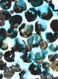 Les cercles d'encre noire et bleue et les taches asymétriques de la peinture coulent Fond contrasté avec la texture artistique illustration libre de droits